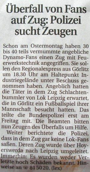 Sächsische Zeitung, 5./6. April 2008